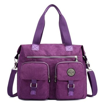 Women Nylon Large Capacity Multi Pocket Causal Functional Handbag Shoulder Bag Crossbody Bag