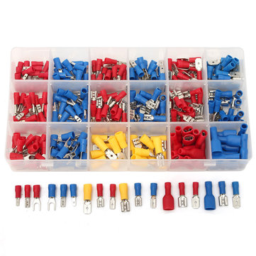 Excellway CT018 330Pcs 18 Kinds Assorted Crimp Terminals Insulated Electrical Wiring Connector