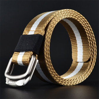 Men Double Ring Buckle Durable Nylon Belt Outdoor Casual Sports Tactical Belt