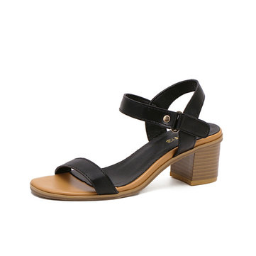 Women Summer Outdoor Beach Leather Retro Vintage Peep Toe Buckle Chunky Heel Sandals
