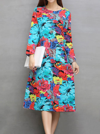 Ethnic Pocket Floral Print Long Sleeve Women Dress