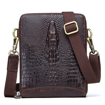 Men Crocodile Embossing Genuine Leather Crossbody Bag