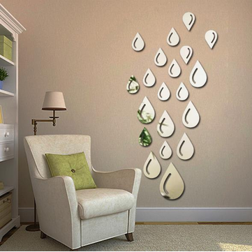 3D Water Drop Silver DIY Shape Mirror Wall Stickers Home Wall Bedroom Office Decor