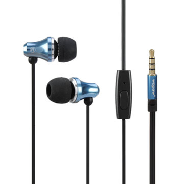 WOPOW EM603 Full Metal Wired Control In-ear Stereo Headphone Earphone With Mic