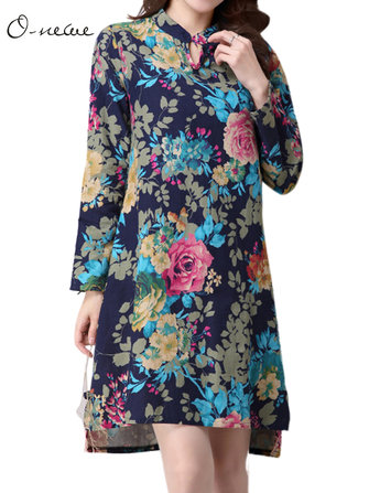 Elegant Ethnic Style Women Flower Printed Split High Low Mini Dress