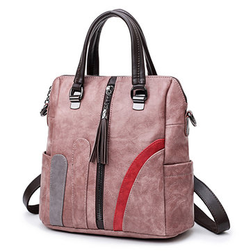 Women Soft Leather Multi-funtion Backpack Vintage Patchwork Crossbody Bags Leisure Handbag