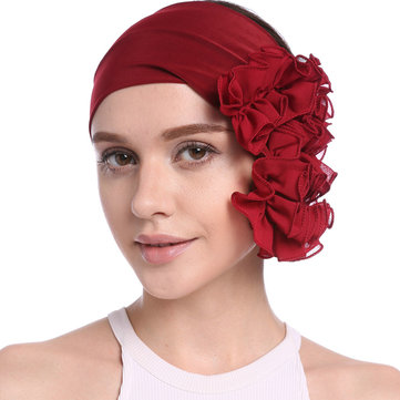 Women Winter Chiffon Muslin Flower Turban