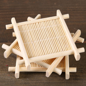 4pcs Bamboo Tea Cup Mat Coaster Kungfu Tea Scald Proof Cup Mat Coaster