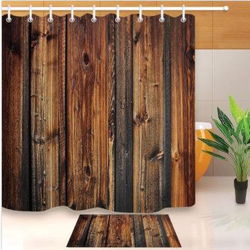 Waterproof Rustic Wood Liner Bathroom Mat Shower Curtain With 12 Hooks Accessories