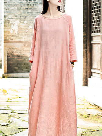 Vintage Pure Color Crew Neck Loose Baggy Maxi Dress