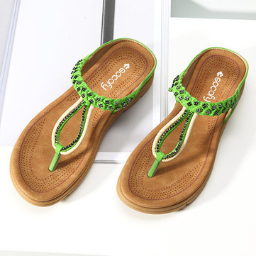 SOCOFY Bohemian Rhinestone Casual Soft Beach Slippers