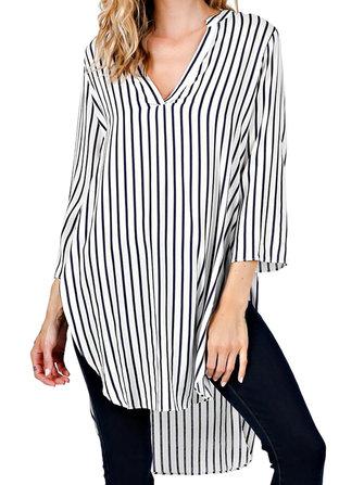 Casual Women Striped Loose Split Irregular Hem Deep V-Neck Shirt Dress