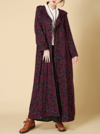 Vintage Women Floral Frog Hooded Long Coats