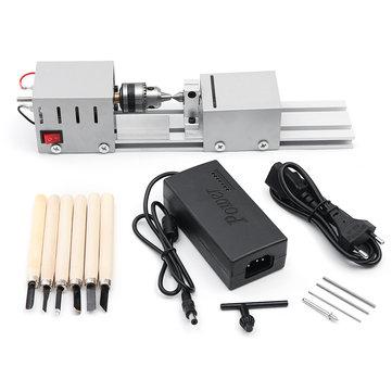 96W DC12-24V Mini Wood Lathe Beads Saw Machine Set Woodworking DIY Beads Polishing Cutting Drill
