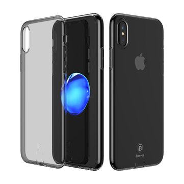 Baseus Transparent Shockproof Soft TPU Case with Dust Plug for iPhone X