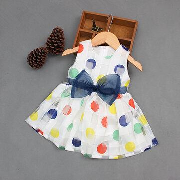 Sweet Kids Girls Big Bowknot Polka Dot Sleeveless Princess Dresses
