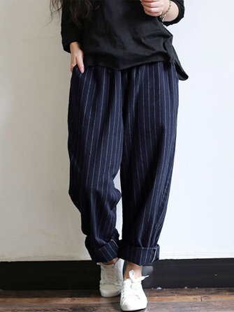Women High Elastic Waist Striped Loose Cotton Harem Pants