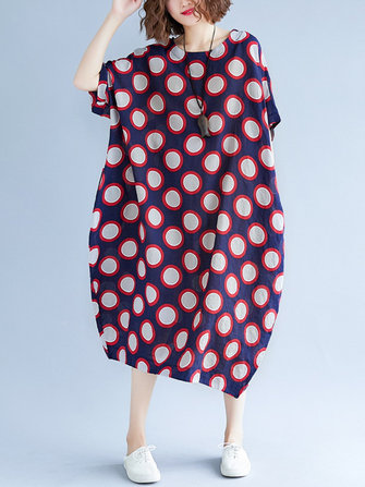 Loose Polka Dot Batwing Sleeve Pockets Bud Dress