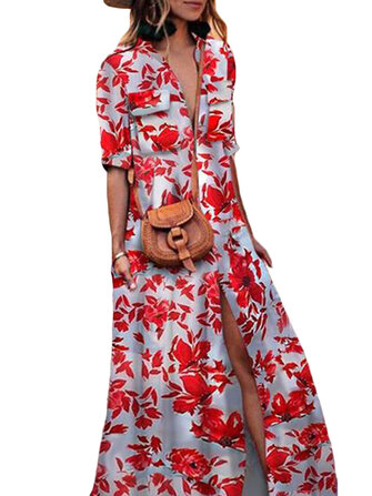 Women Half Sleeve Split Boho Floral Maxi Dress