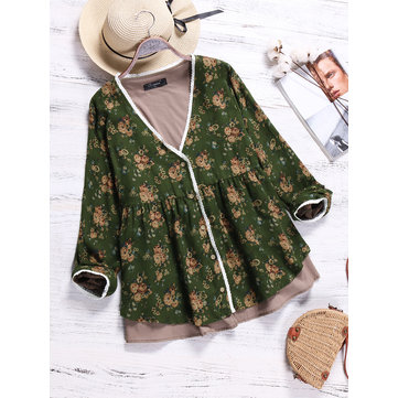 O-NEWE Vintage Women Floral Printed V-Neck Fake Two-Piece Shirts