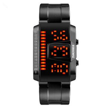 Men's Waterproof Sport LED Electronic Watch Steel Strip Casual Fashion Watch