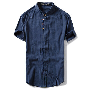 Vintage Chinese Style Linen Cotton Breathable Thin Pure Color Band Collar Shirt for Men