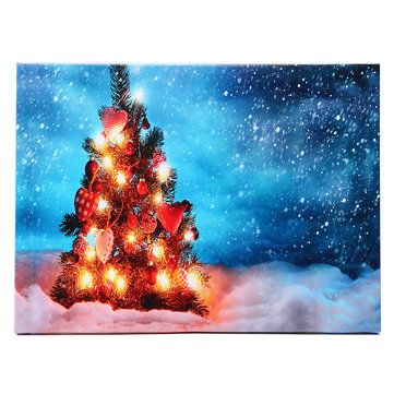 40 x 30cm Operated LED Christmas Snowy Tree Xmas Canvas Print Wall Art