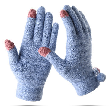 Women Plus Cashmere Full Fingers Gloves Outdoor Riding Thicken Warm Touch Screen Knitted Gloves