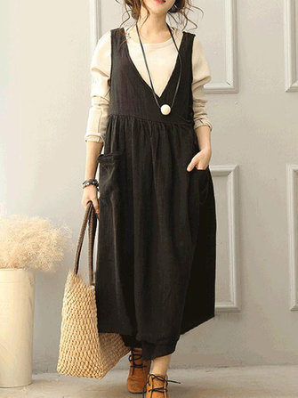 Women Pure Color Sleeveless Pocket Loose Dresses