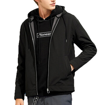 Mens Hooded Pure Color Waterproof Windproof Casual Soft Shell Thick Jacket