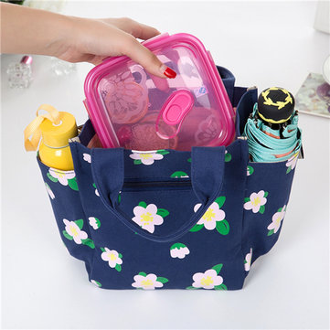 Canvas Casual Flower Pattern High Quality Lunch Bag