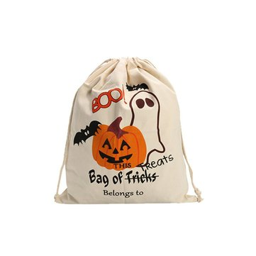Halloween Pumpkin Canvas Bags Beam Port Drawstring Sack Candy Gift Bags
