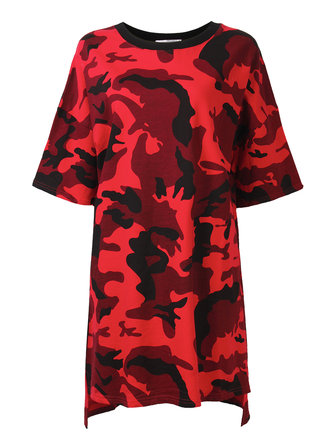 Casual Women Camouflage Printing Half Sleeve Loose Shirt Dress