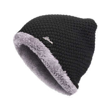 Mens Winter Coral Fleece Knitted Beanie Double Layers Windproof Earmuffs Cap Slouch Skiing Hats