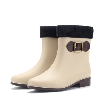 Women Rain Boot Keep Warm Plush Casual Outdoor Waterproof Non-Slip Ankle Boots