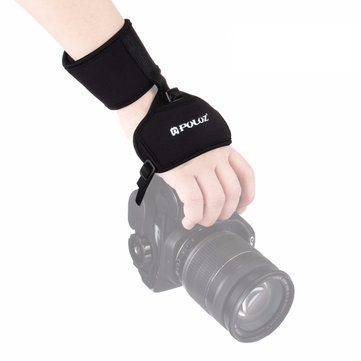 PULUZ PU224 Soft Neoprene Hand Grip Wrist Strap with Hand Belt Screw Plastic Plate for DSLR Cameras