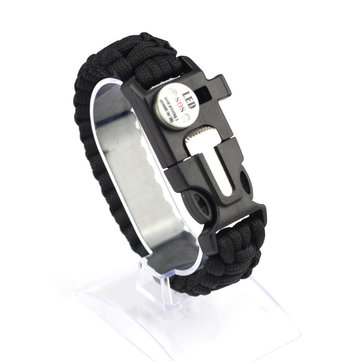 IPRee® 5 in 1 Outdoor Survival Bracelet Rope with Waterproof SOS LED Light Emergency Whistle