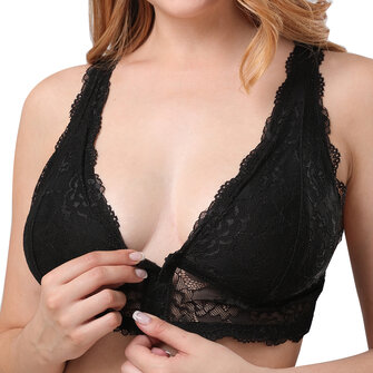 XL-3XL Front Buckle Full Cup Coverage Adjusted Black Bra