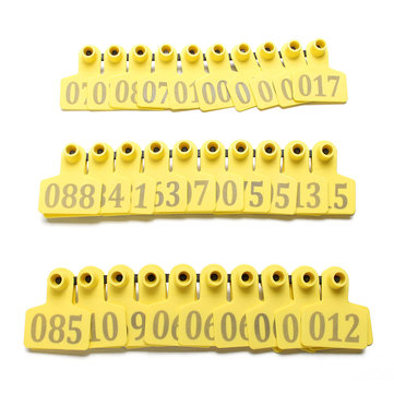 100Sets Yellow Animals Cattle Goat Pig Sheep Use Ear Number Tag Livestock Tags Labels