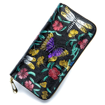 Brenice Women Embossing Rose Floral Zipper Card Holder Coin Purse Long Wallet