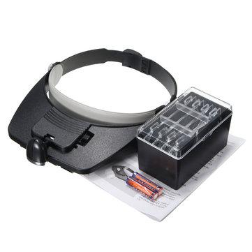 1.2X 1.8X 2.5X 3.5X Plastic Acrylic Lens Head Mount Headset LED Light 4pcs Magnification Glasses