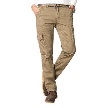 Mens Winter Thick Fleece Multi Pockets Cargo Pants Straight Leg Casual Pants