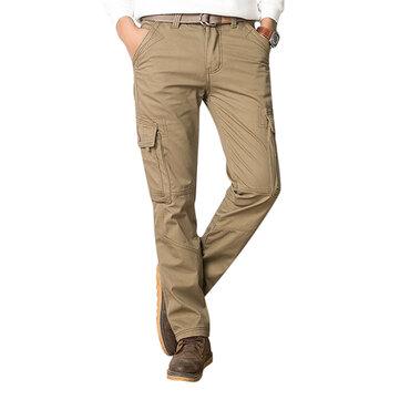 Pantaloni da Uomo in Lana Spesso Multi Tasche Casual per Inverno Pantaloni Cargo Pantaloni a Gamba Dritta