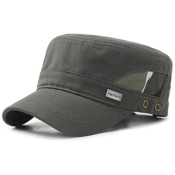 Mens Mesh Cotton Flat Top Hat Military Army Cadet Cap