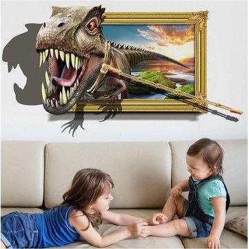 Honana สติ๊กเกอร์ติดผนังไดโนเสาร์ 3D ภาพตกแต่งภายในบ้านจิตรกรรมฝาผนังสติ๊กเกอร์ติดผนังที่ถอด