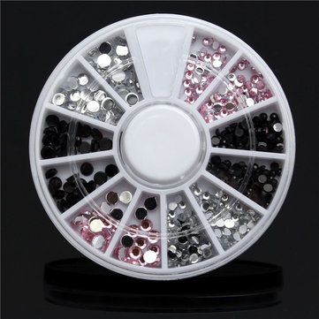4 Sizes Acrylic Nail Art Decoration Tip Wheel Black White Pink Glitter Rhinestones