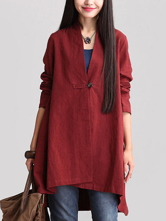 Women Long Sleeve Solid Loose Asymmetric Hem Coat