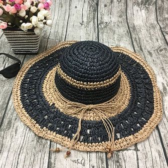 Women Outdoor Summer Handmake Woven Sun Protection Wide Brimmed Floppy Hat Hollow Out Cap