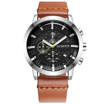OCHSTIN GQ078 Fashion Men Quartz Watch Luxury Sub-dail Leather Straps Sport Watch