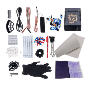 Professional Complete Tattoo Kit Pro Machine Set Tattoo Power Supply kit with Coils Needle Tip suitable for Beginner Body Art